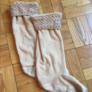 Hunter rainboots cable knit socks 9 tan cream tall